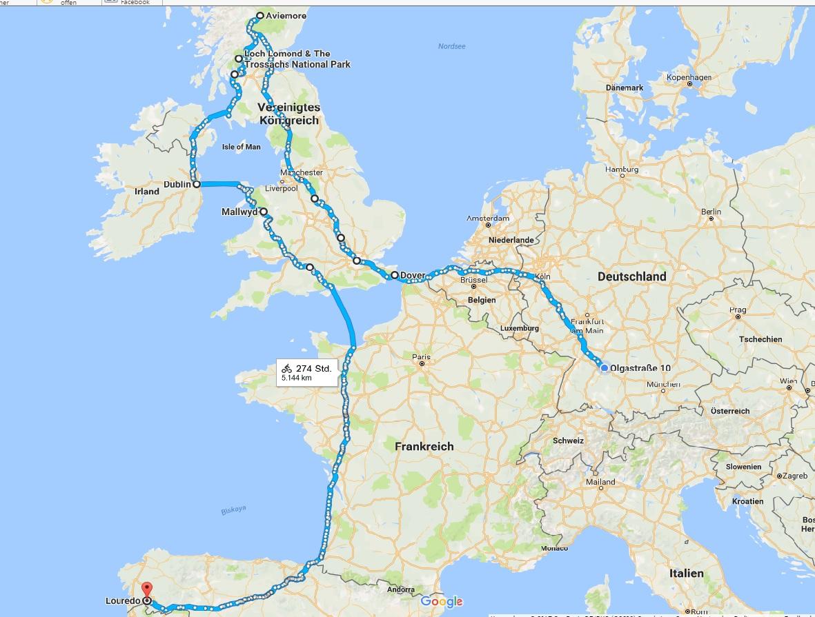 Bis jetzt steht schon mal fest, dass die erste Strecke mich nach England